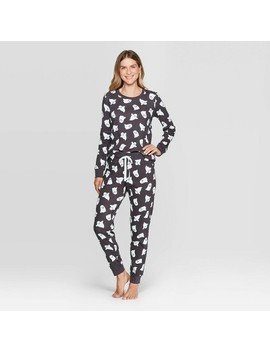 Women's Family Pajamas Ghost Set   Snooze Button Gray by Snooze Button Gray