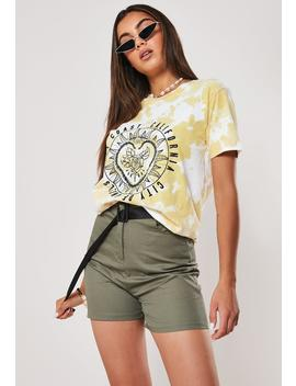 Yellow West Coast Tie Dye Graphic T Shirt by Missguided