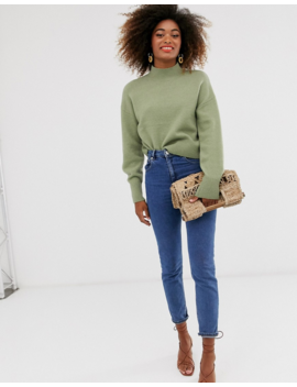 &Amp; Other Stories High Neck Sweater In Sage Green by & Other Stories