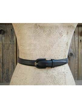 1990s Minimalist Black Leather Belt, Plain Leather Belt, Basic Black Leather Belt, Skinny Leather 90s Career Belt, M 27 To 31 by Etsy