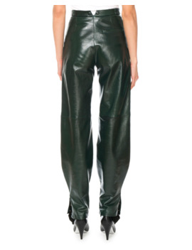 High Waist Snap Cuff Lamb Leather Trousers by Givenchy