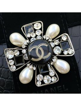 Chanel Brooch Handmade Maltese Cross Broche Brooch Pin Diy Hand Made From An Original Chanel Cc Logo Button by Etsy