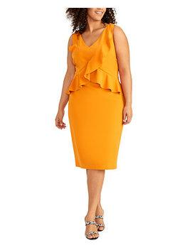 Plus Size Asymmetrical Ruffle Trim Dress by General