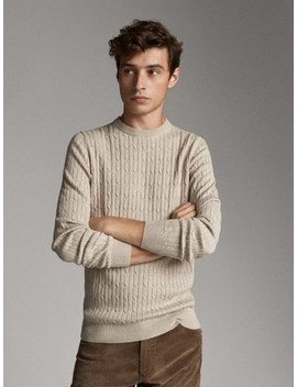 Wool And Cotton Cable Knit Sweater by Massimo Dutti