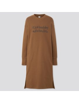 Women Rise Again By Verdy Sweat Long Sleeve Dress by Uniqlo