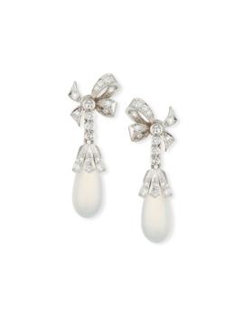 14k Moonstone & Diamond Drop Earrings by Turner & Tatler