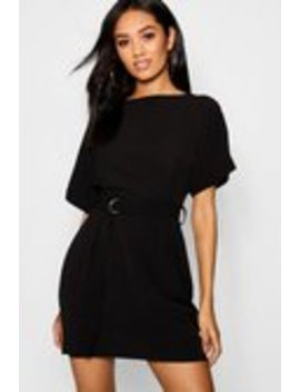 Petite Turn Up Sleeve Waist Woven Shift Dress Petite Turn Up Sleeve Waist Woven Shift Dress by Boohoo