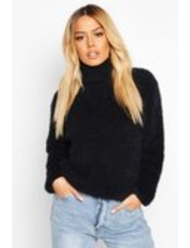 Petite Fluffy Knit Roll Neck Jumper Petite Fluffy Knit Roll Neck Jumper by Boohoo