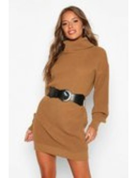 Petite Belted Roll Neck Rib Jumper Dress Petite Belted Roll Neck Rib Jumper Dress by Boohoo