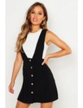 Petite Plunge Front Button Pinafore Dress Petite Plunge Front Button Pinafore Dress by Boohoo