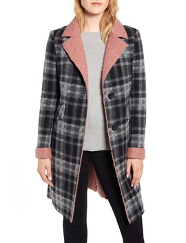 Faux Shearling Trim Plaid Coat by Sam Edelman