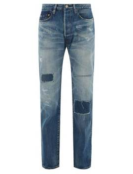X Levi's Distressed Multi Patch Denim Jeans by Junya Watanabe