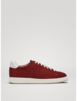 Burgundy Split Suede Trainers by Massimo Dutti