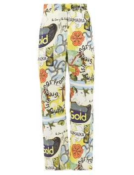 Jamaika Print Linen Trousers by Martine Rose