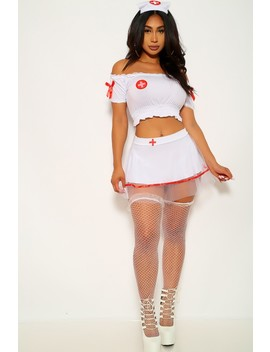 White Red Three Piece Sexy Nurse Costume by Ami Clubwear
