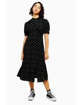 Petite Black Conversational Print Midi Dress by Topshop