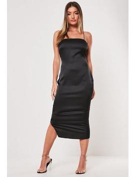 Tall Black Cross Strap Satin Slip Dress by Missguided