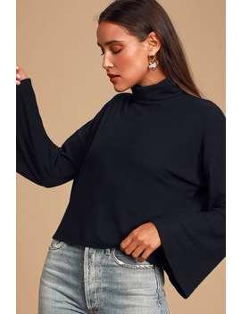 Always Optimistic Black Knit Turtleneck Sweater Top by Lulus