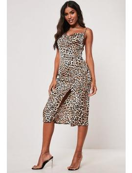 Stone Leopard Print Cowl Neck Midi Slip Dress by Missguided