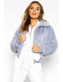 Collared Faux Fur Bomber Jacket by Boohoo