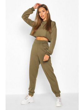Hooded Raw Hem Cuff Jogger Tracksuit by Boohoo