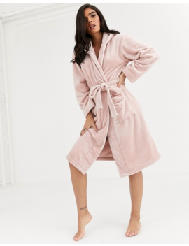 Lindex Astrid Fluffy Fleece Hooded Robe In Light Pink by Lindex