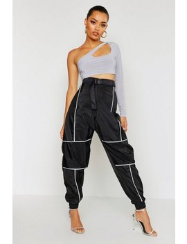 Reflective Piping Belted Joggers by Boohoo