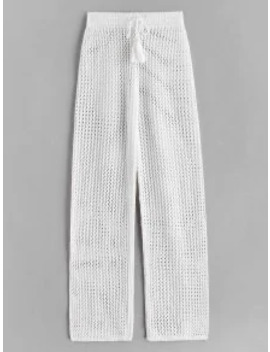 Hot Drawstring Crochet Straight Pants   White by Zaful