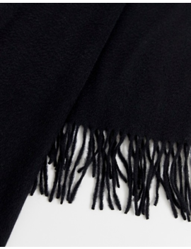 Asos White 100 Percents Wool Blanket Scarf In Black by Asos White