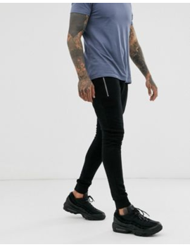 Asos Design Super Skinny Joggers In Black With Silver Zip Pockets by Asos Design