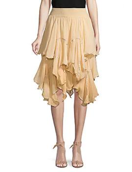 Metallic Trim Ruffle Cotton Skirt by Free People