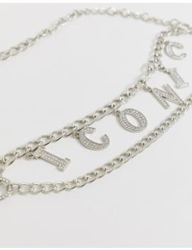 Asos Design Rhinestone Iconic Slogan Chain Waist And Hip Belt by Asos Design