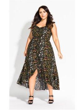 Spring Ditsy Maxi Dress   Black by City Chic