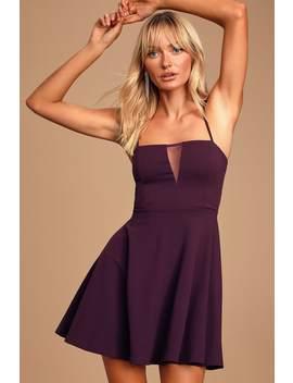 Quintana Purple Sleeveless Skater Dress by Lulus