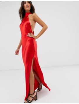 Asos Design Choker Maxi Dress In High Shine Satin by Asos Design