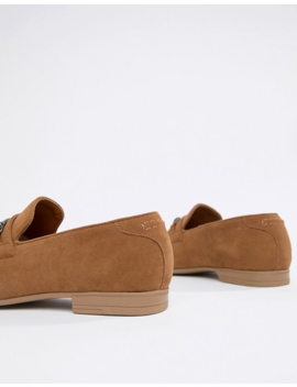 Asos Design Wide Fit Loafers In Tan Faux Suede With Snaffle Detail by Asos Design