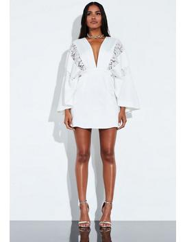 Robe Courte Blanche Style Kimono Peace + Love by Missguided