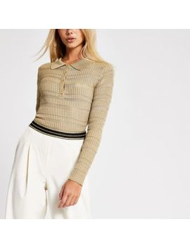Light Brown Sheer Long Sleeve Polo Top by River Island