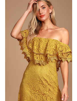 Jaclyn Golden Yellow Lace Off The Shoulder Midi Dress by Lulus