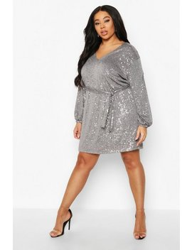 Plus Sequin Belted Blouson Sleeve Wrap Dress by Boohoo