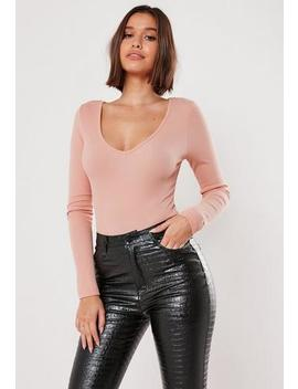 Blush Ribbed Long Sleeve V Neck Bodysuit by Missguided