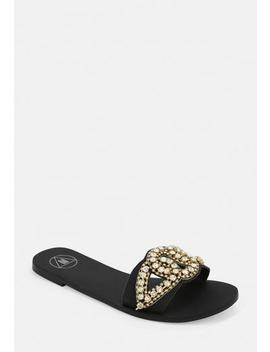Black Embellished Slip On Sandals by Missguided