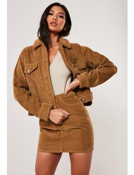 Tan Co Ord Borg Collar Jumbo Cord Jacket by Missguided