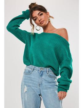Green Cropped Off The Shoulder Knitted Sweater by Missguided