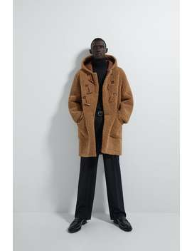 Hooded Faux Shearling Three Quarterlength Coat New In Man by Zara
