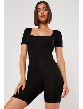 Black Short Sleeve Square Neck Unitard by Missguided