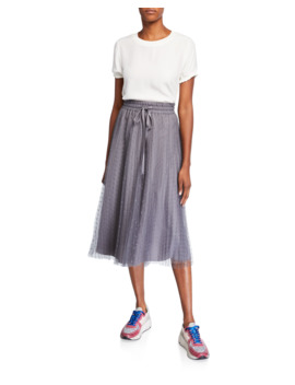 Point D'esprit Tulle Midi Skirt by Red Valentino