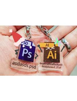 Adobe Photoshop Illustrator Ai Ps Asd Final Double Sided Keychain by Etsy
