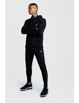 Man Muscle Fit Hooded Bungee Cords Tracksuit by Boohoo