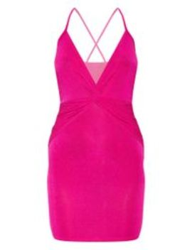 Hot Pink Strappy Cross Back Textured Sheer Glitter Bodycon Dress  by Prettylittlething